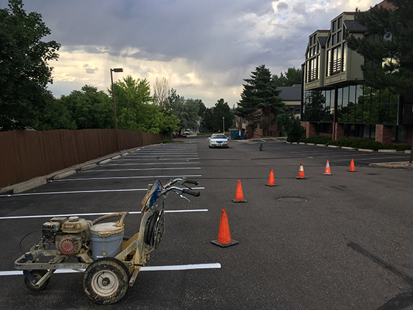 Colorado pavement marking denver pavement markings for Parking lot painting equipment
